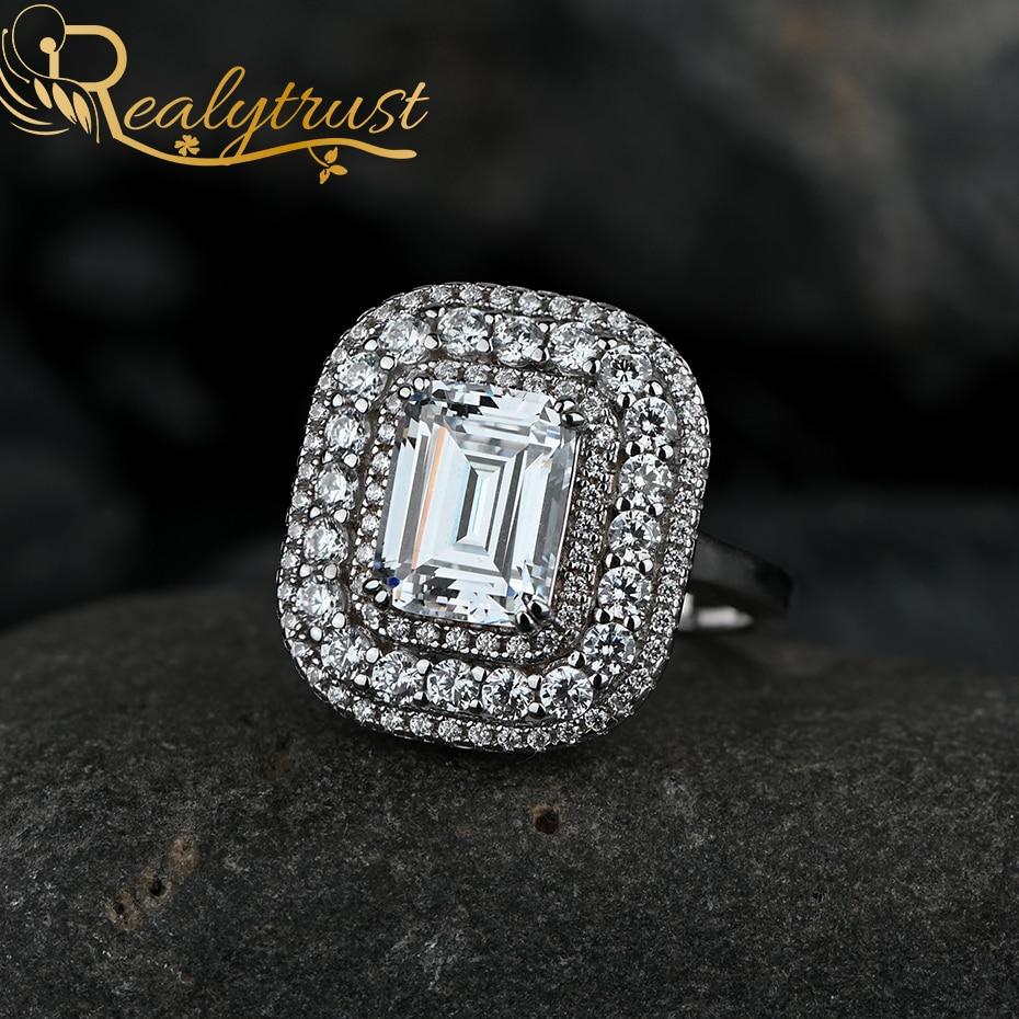 Realytrust 2ct esmeralda corte de alto carbono diamante anel de auréola para as mulheres sólido 925 prata esterlina luxo anéis de casamento presente aniversário