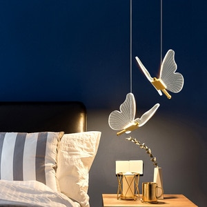 Butterfly Bedside Chandelier Long Line Modern Minimalist Bedroom Light Luxury Restaurant Lighting Bar LED Small Pendant Lights