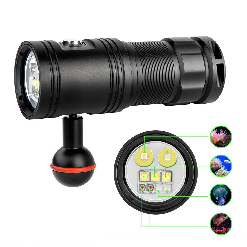 trustfire df30 lanterna tocha de mergulho video led 4 cores foto video lampada subaquatica