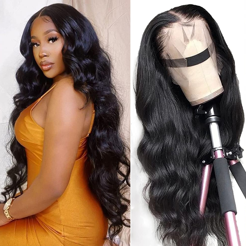 26 28 Inch Body Wave Human Hair Wigs On Sale For Women Black Pre Plucked 13x4 Brazilian Full Lace Frontal Wig