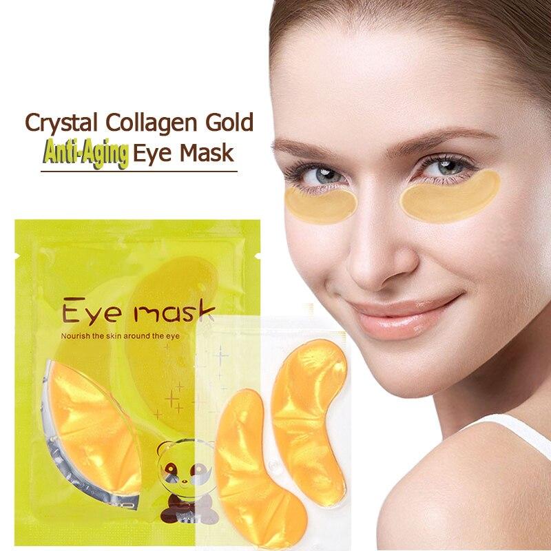 Cristal colágeno 24k oro polvo oro máscara de ojos antiarrugas cara duradera alimentar humedad eliminar las ojeras cuidado de los ojos TSLM1