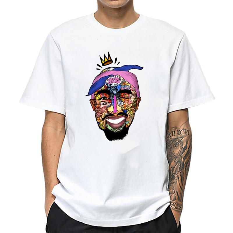 2019 nueva camiseta blanca con estampado tupac, divertida camiseta hip hop, camiseta Casual de verano para hombre, camiseta Hipster para hombre, camisetas
