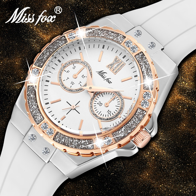 MISSFOX Watches Women Geneva Fashion Ladies Watch Luxury Diamond White Rubber Band Female Quartz Wristwatch Xfcs 2020 The New enlarge