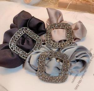 Czech rhinestone women fabric large hair ring INS elastic hair rope square drill hair accessories