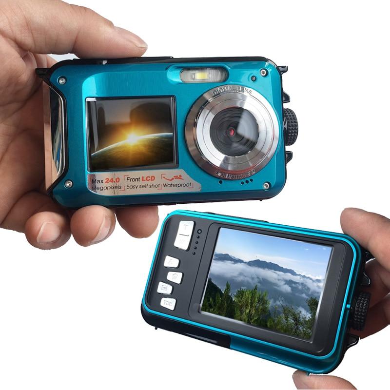 HD 1080P Waterproof Digital Camera Dual Screens (Back 2.7 Inch + Front 1.8 Inch) 16x Zoom Underwater Camcorder Cam enlarge