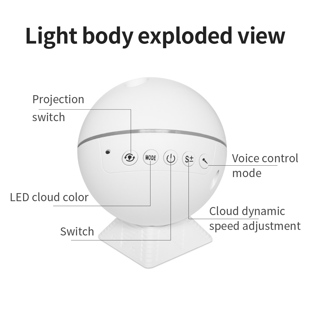 Starry Sky Projector Galaxy LED Night Light Moon Cloud Night Lamp Ocean Wave Music Mood Remote Control for Christmas gift Car enlarge