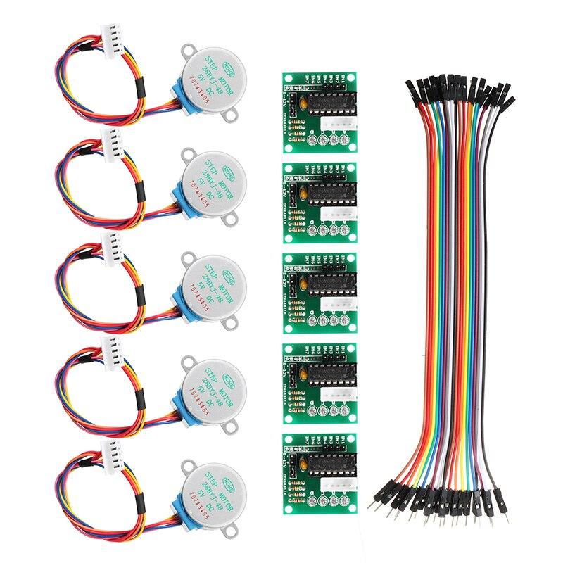 Motor paso a paso 5 uds 5V con tarjeta de controlador ULN2003 Cable Dupont para Motor paso a paso de reducción Arduino Motor paso a paso 4 fases