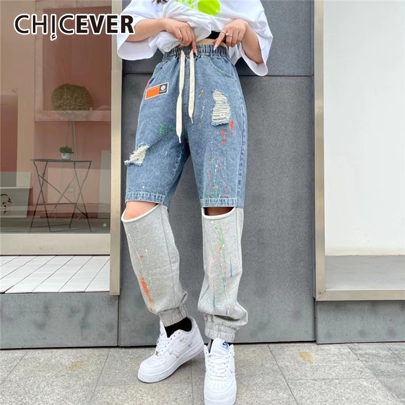 CHICEVER Straight Denim Pant For Women High Waist Drawstring Designer Hole Plus Size Streetwear Jeans Female 2021 Spring Clothes