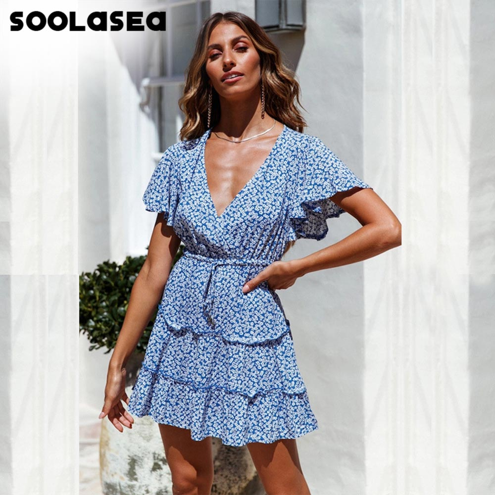 Soolasea Summer Dress Women A-line Floral Print Female Boho Mini High Waist V-neck Beach Wear Ladies Sundress Vestidos