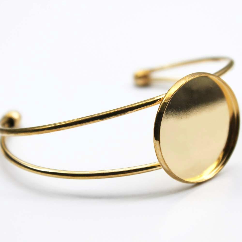 KC enchapado en oro de 25mm 30mm 1 Uds., brazaletes de pulsera, conectores vacíos redondos, suministros de bandeja de cabujón de cristal para componentes de joyería B-004