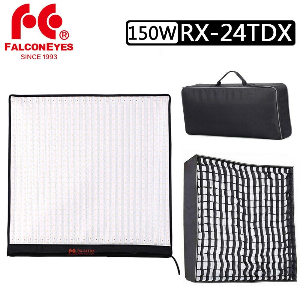 RX-24TDX Falcon Eyes, 150W, para fotografía, bicolor, Flexible, luz LED para vídeo, con rejilla de panal, Softbox para estudio/película/entrevista