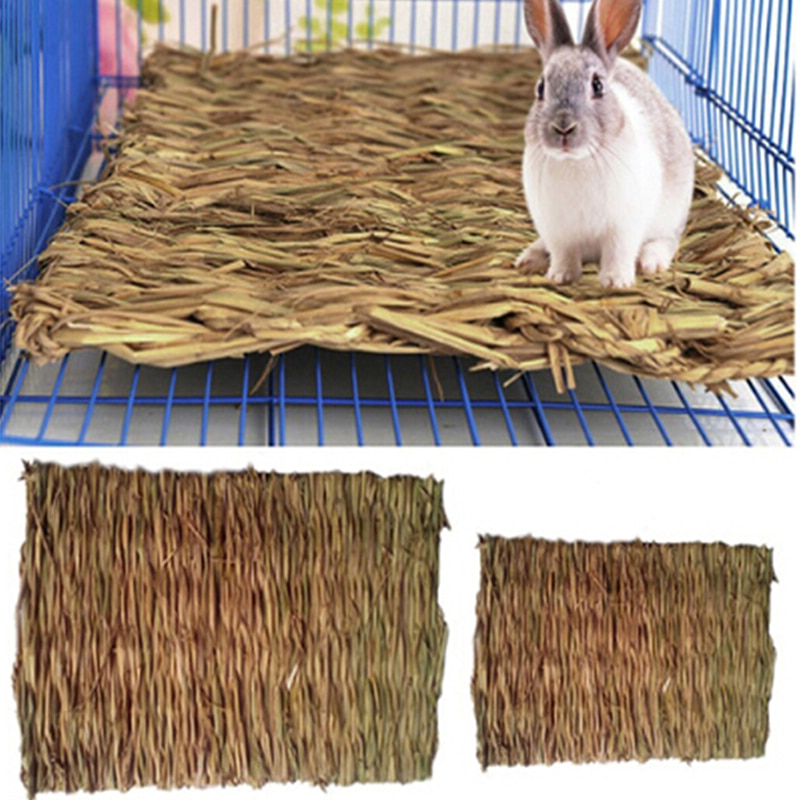 Alfombra para masticar de hierba de conejo hámster pequeño Animal conejillo de indias cama para jaula casa Pad