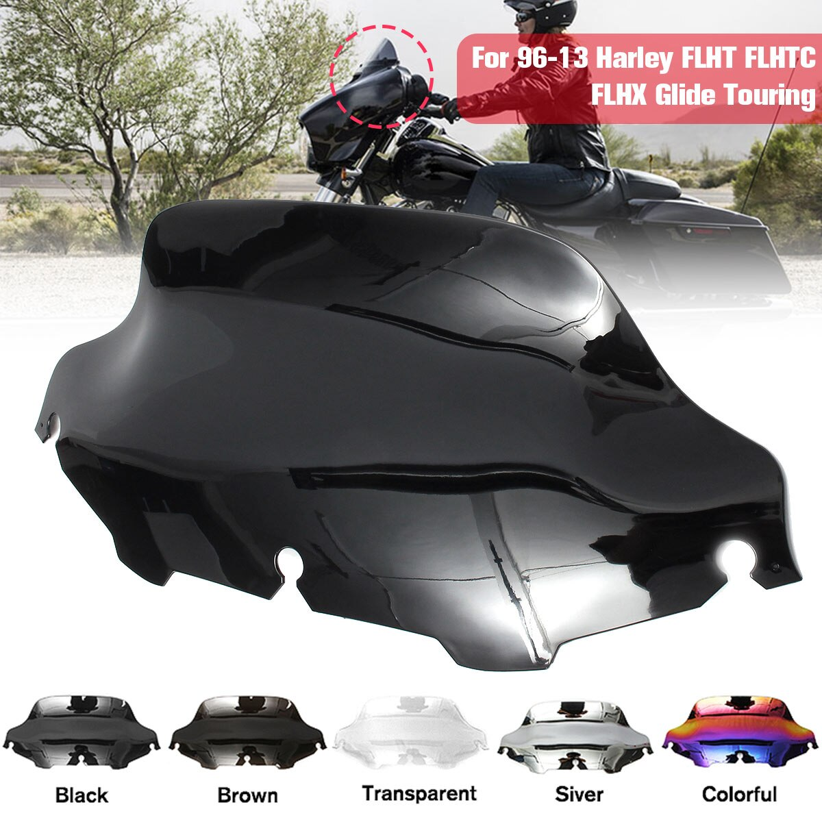 Parabrisas de 8 pulgadas para motocicleta, deflectores de viento para Harley/Electra/Street Glide FLHX FLHTK FLHTC 1996-2013