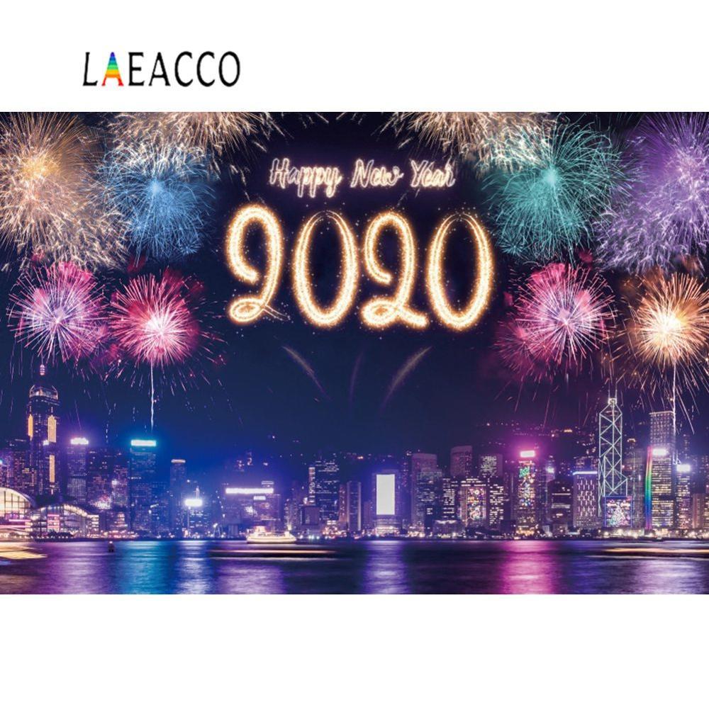 Feliz Año Nuevo 2020 fuegos artificiales Firecracker ciudad Riverside noche escénica fotografía telón de fondo para estudio fotográfico