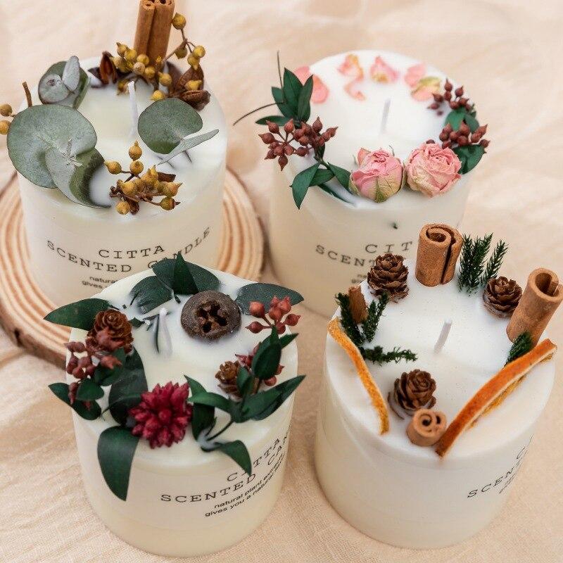 Vela de aromaterapia cera de soja aromaterapia vela romântica pilar vela decoração de natal