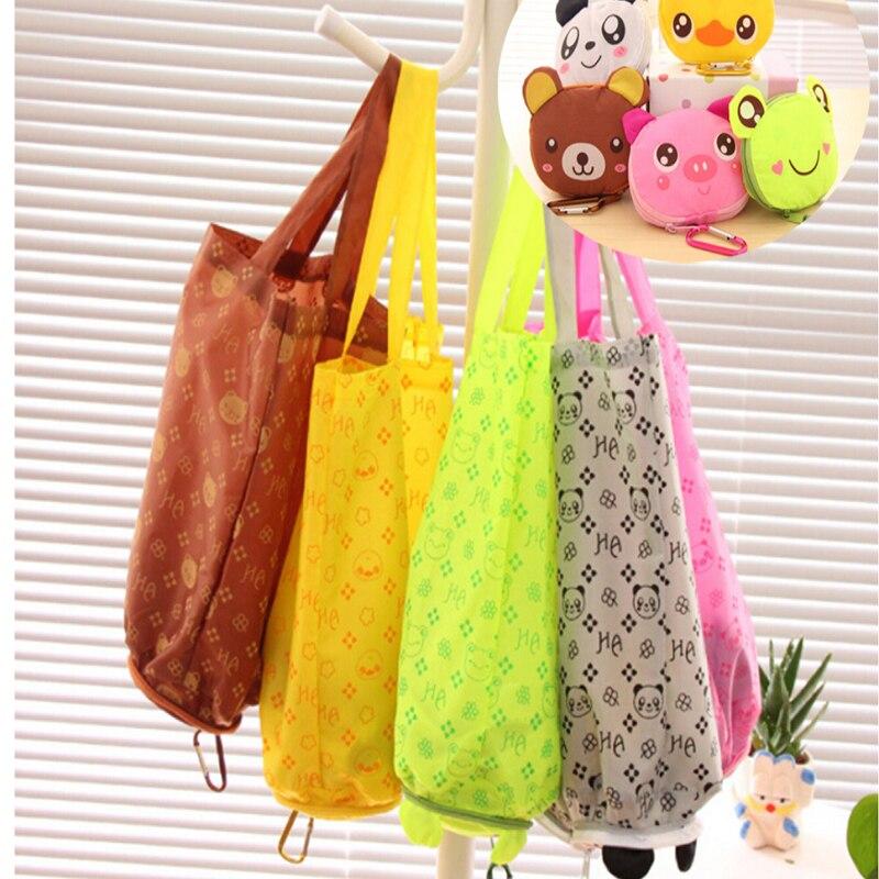 Bolsa de compra reutilizable plegable de Color caramelo, bolsa de almacenamiento de vegetales, bolsa de almacenaje de alimentos, bolsa de viaje multifunción