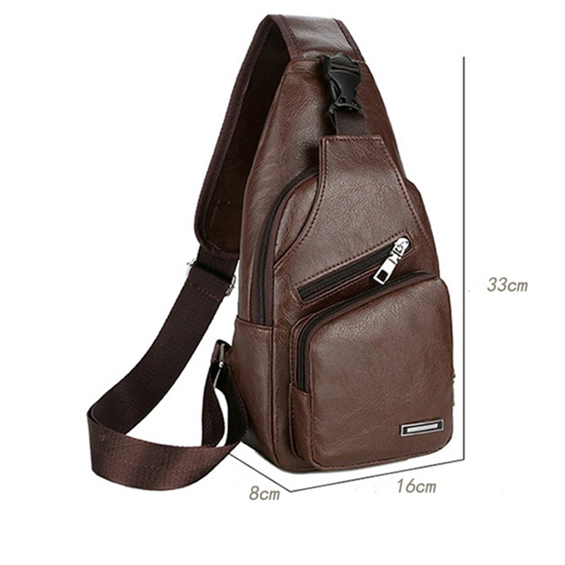 Shoulder Bags 2021 New Fashion Solid Color Casual Shoulder Chest Bag USB Charging Carrying Case Bag  - buy with discount