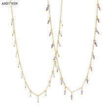 ANDYWEN-collier en argent Sterling 925 Turquoise, chaînes en Zircon violet, collier Punk Rock 2020, bijoux à la mode CZ