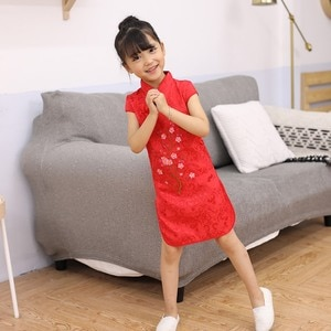Kids Girls Traditional Cheongsam Rose Embroidery Dress Baby Slim Short Sleeve Dress Pink Red White Yellow Colors Chinese Style