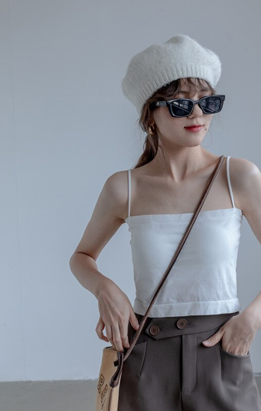 Flat Mouth Suspender Vest Women's Summer Thin Style With Beautiful Back And Strapless Inside White S