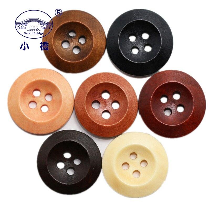 50 Uds. Botones de Color Natural de madera para coser manualidades Diy Scrapbooking botón de madera redondo de 4 agujeros para ropa abrigo accesorios hechos a mano