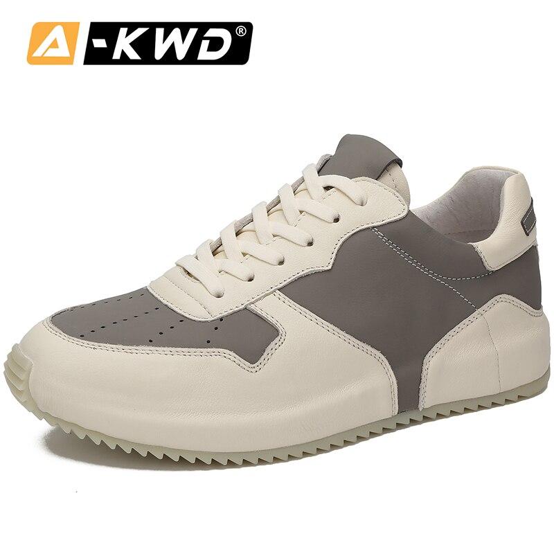 Fahsion sapatos masculinos de marca de luxo, calçados respiráveis de couro genuíno, tênis casual, outono 2019