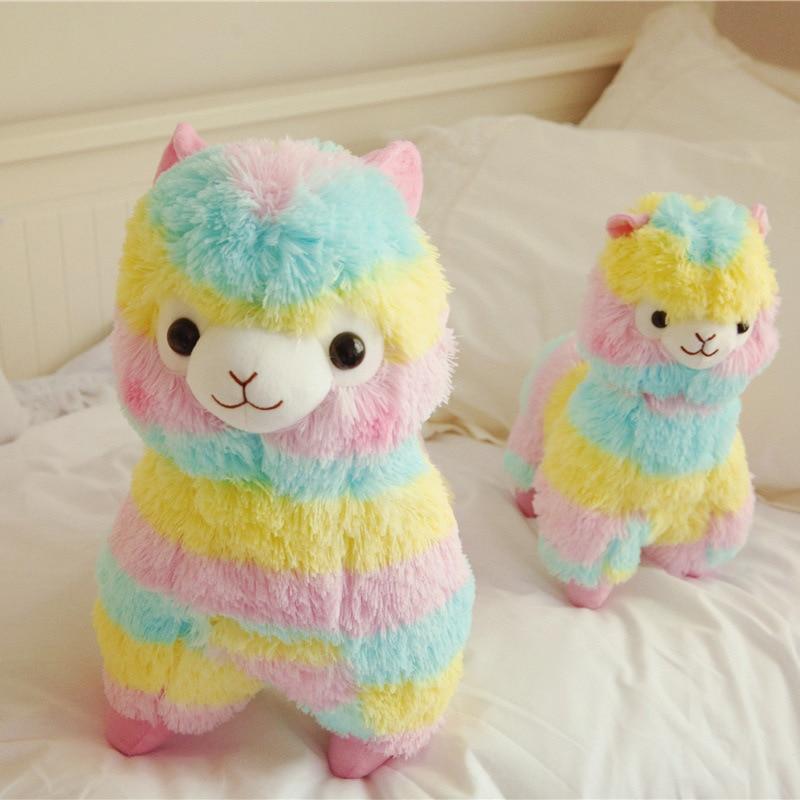 Красочная плюшевая кукла альпака, 25 см, милая кукла-животное, мягкая хлопковая мягкая кукла, домашние мягкие игрушки, мягкие игрушки, мягкие ...