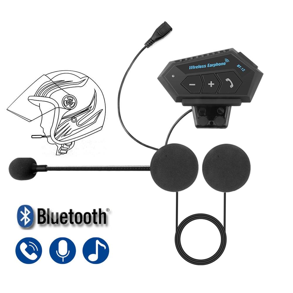 Motorcycle Bluetooth 4.2 Helmet intercom Wireless Headset hands-free telephone call Kit Stereo Anti-interference Interphone