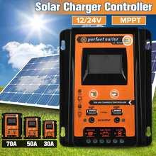 Contrôleur de Charge solaire 30A/50A/70A MPPT   Contrôleur de Charge solaire 12V 24V, Auto LCD, double USB, panneau solaire, régulateur de batterie domestique