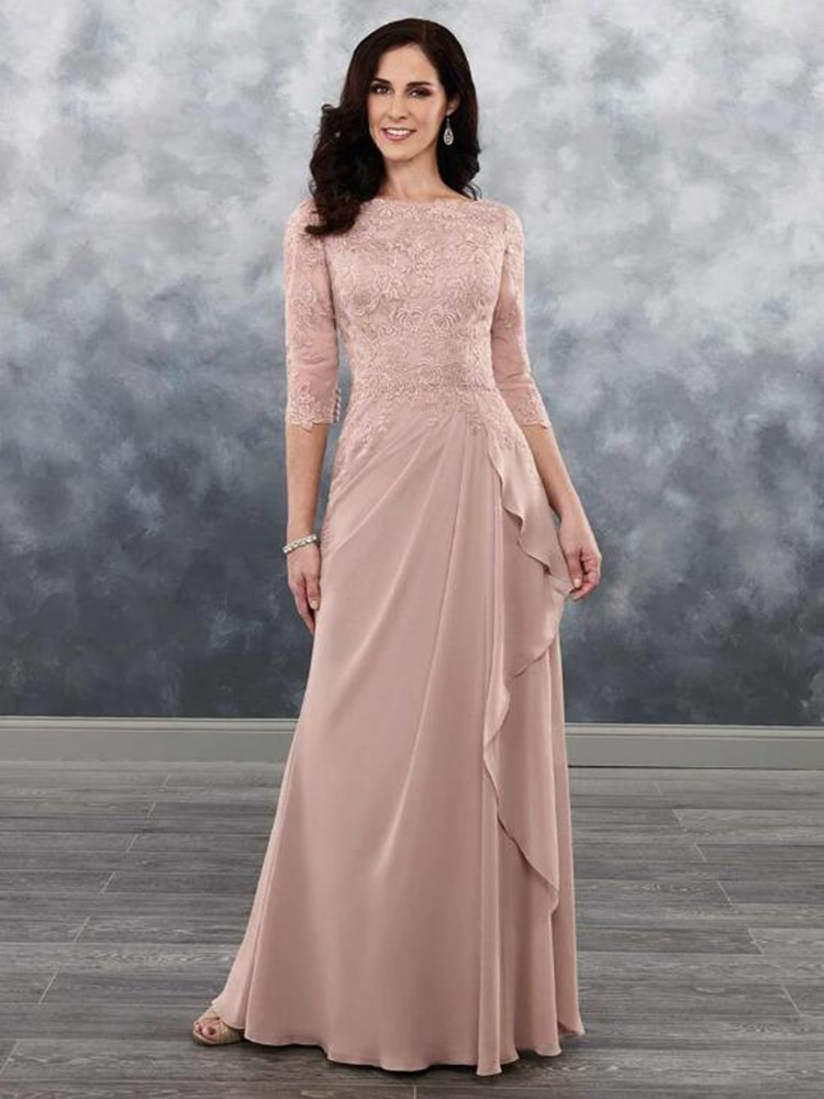Dusty Rose Lace Mother of the Bride Dresses 2021 Latest Boat Neck with 3/4 Sleeves Wedding Guest Gow