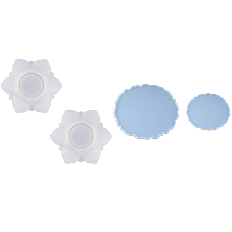 2 قطعة غير النظامية قالب من السيليكون و 2 قطعة حسن المظهر صندوق تخزين زهرة شفافة اليدوية محلية الصنع قالب من السيليكون للراتنج
