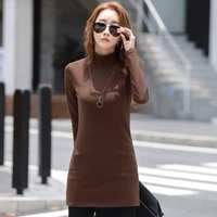solid cotton stretch women tops long slim fit tees spring autumn high neck long sleeve simple elegant ladies shirt pullover 2021