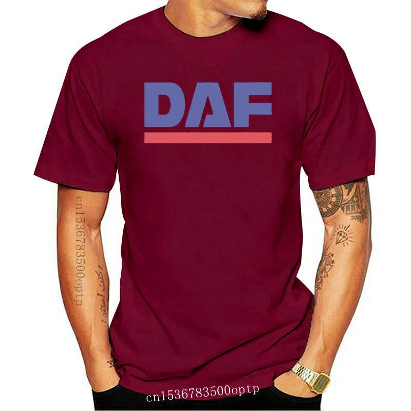 New Grey T-Shirt with Blue & Red DAF Logo - hgv lf tipper trailer box truck