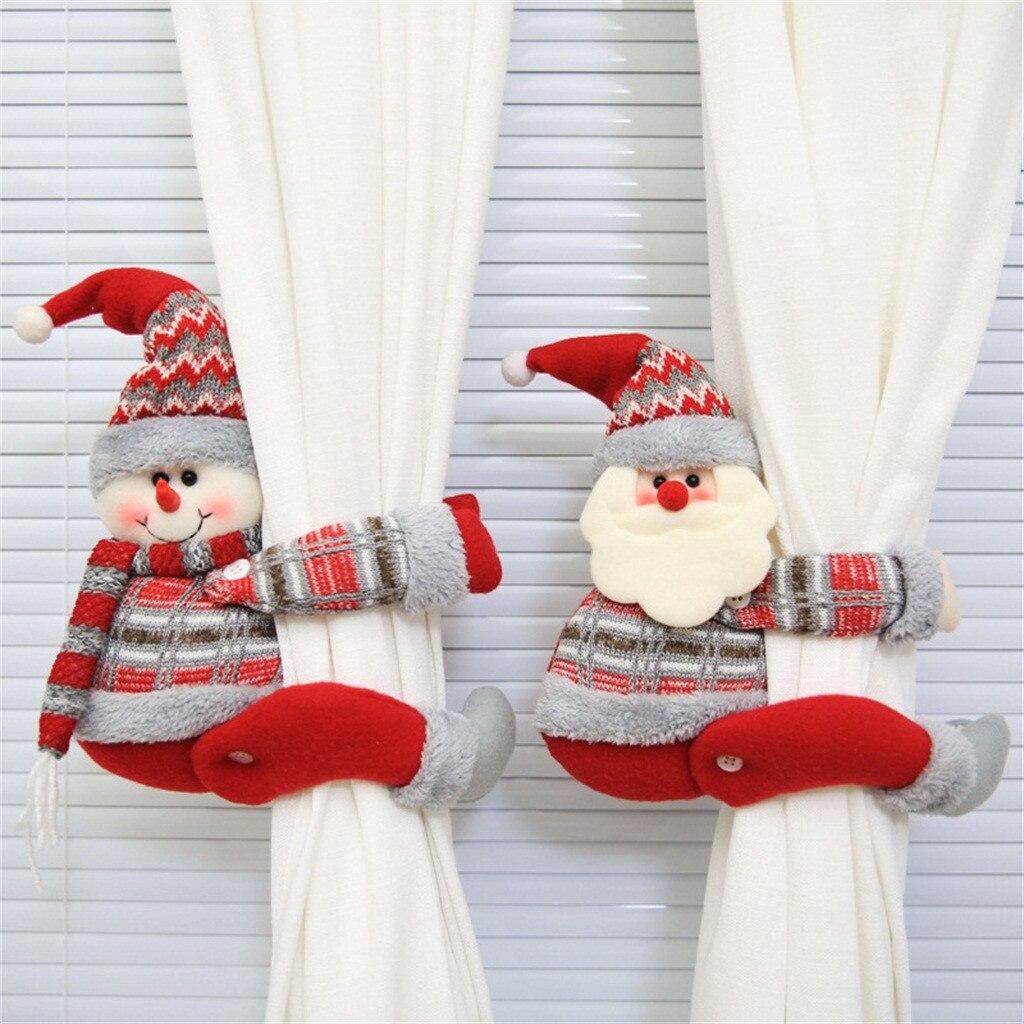 Nova boneca dos desenhos animados cortina fivela janela decorações presente de natal decorações casa por boneco de neve e papai noel pequenos produtos