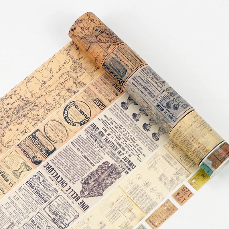 Готическая бумажная васи лента Винтаж Алфавит цифры любовь надпись карта мира новости бумага Журнал клейкая Маскировочная стикер ленты A6159