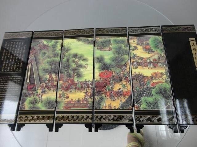 Pintada com Qingming Mini Requintado Chinês Clássico Dobrável Tela Festival Pintura 6-pieces