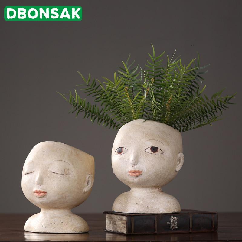 Cara Humana florero abstracto resina flor olla muñeca forma escultura regalo la forma de la cabeza jarrón con adorno floral jardín decoración de casa