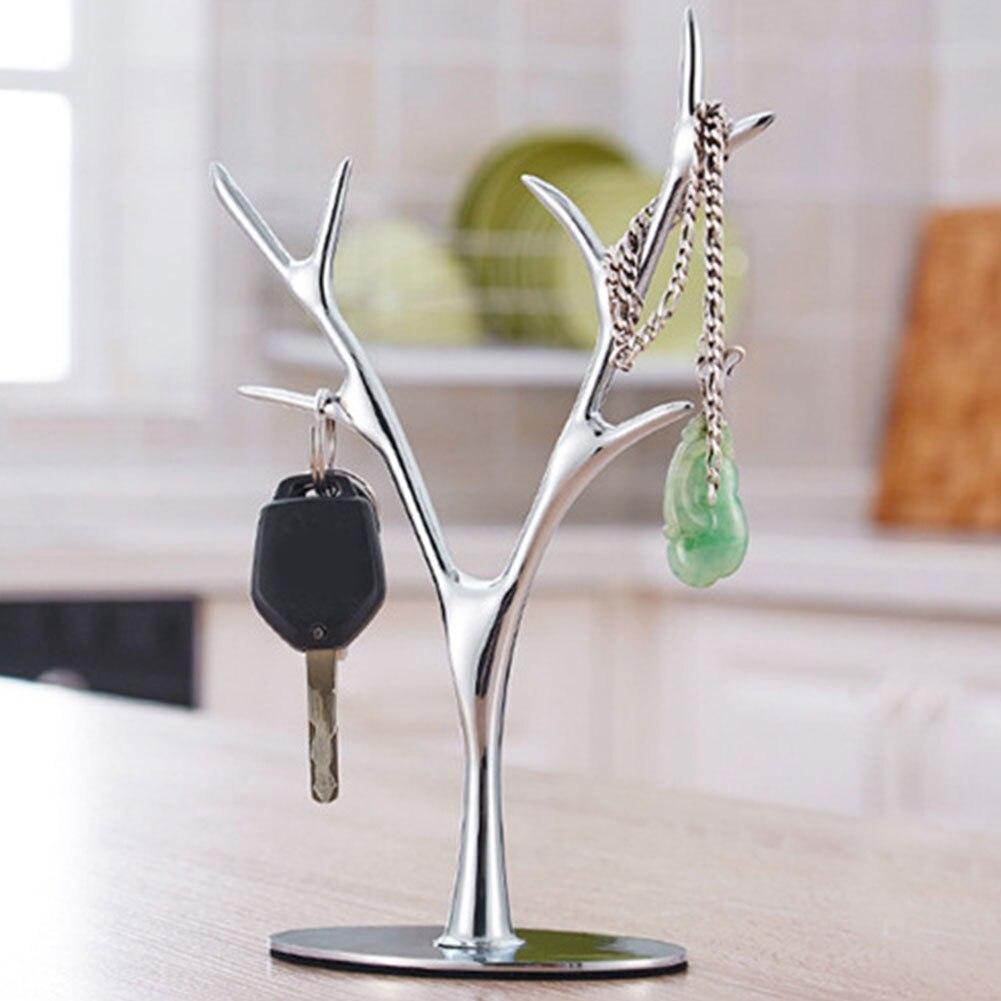 Anel de metal antigo jóias suporte organizador rack armazenamento em casa europeia árvore ramo titular colar brincos exibição quadro prateleira