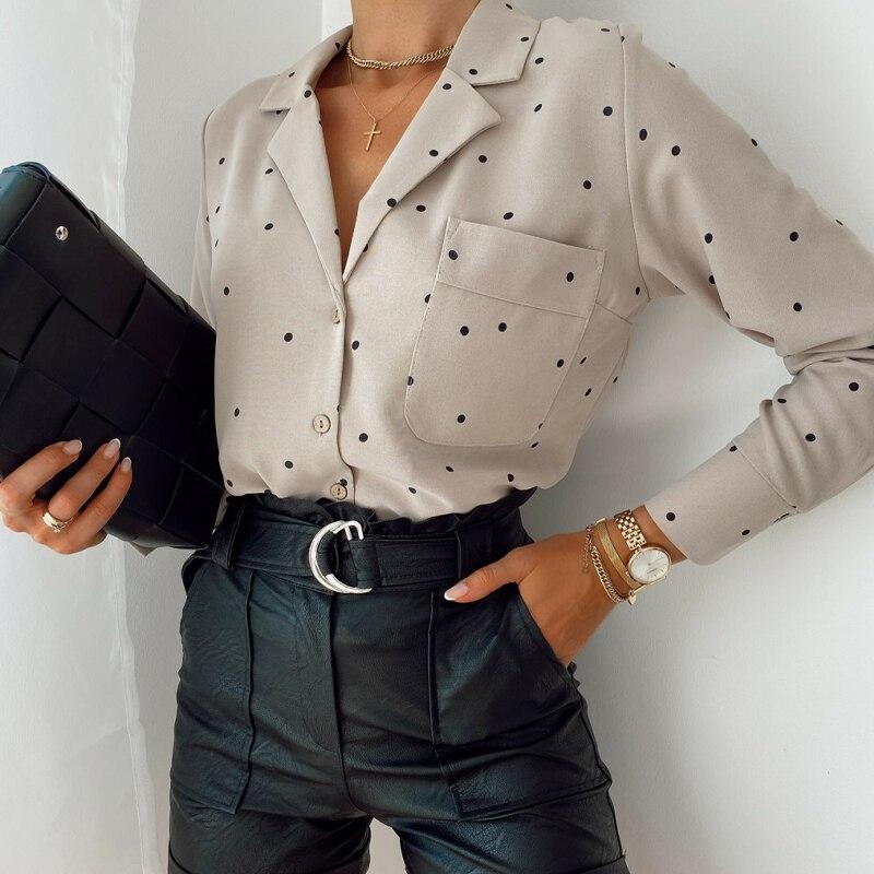 chic hooded long sleeve polka dot pocket design women s hoodie 2021 New Spring Women Pocket Long Sleeve Turn Down Collar Blouse Office Lady Polka Dot Cotton Casual Shirts