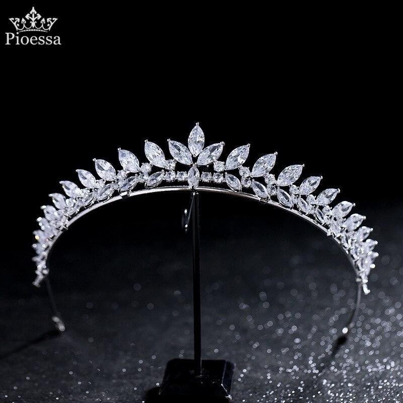Diadema coreana Simple con cristales De lujo, circonio De Boda, Tiara Nupcial,...