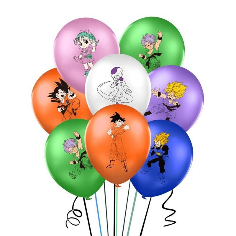 Lote de 10 Globos de látex de Dragon Ball, de 12 pulgadas, 2,8g, para decoración de fiestas de cumpleaños, Fiesta Temática de Anime, Globos de aire de Dragon Ball Z