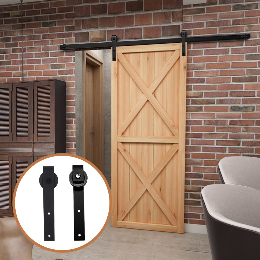 4-9FT Sliding Barn Wooden Door Hardware Hanging Rail Rustic Black Cabinet Ship To Europe