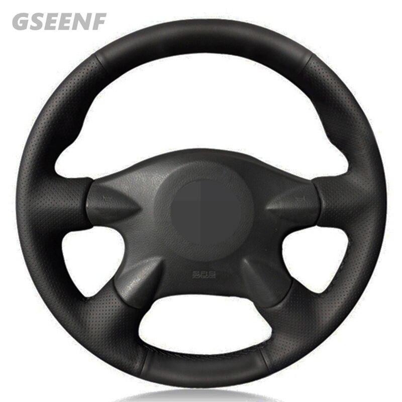 Cubierta del volante del coche para Nissan X-Trail (T30) Almera (N16) paladín Renault Samsung SM3 negro DIY de cuero Artificial