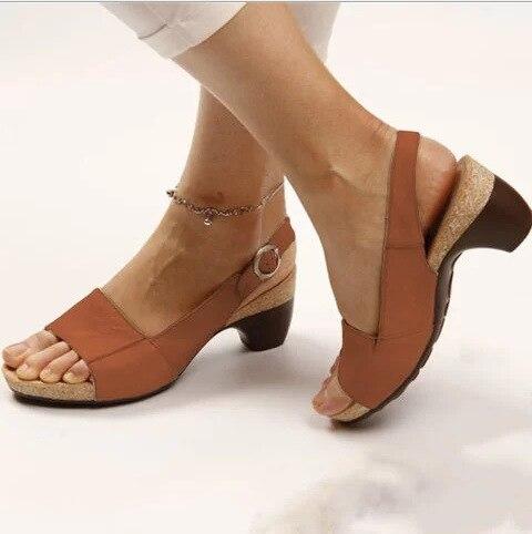Frau Sandalen Hausschuhe Sommer Stil Keile Pumpen High Heels Schnalle Starp Mode Gladiator Peep Top Pumpe Zapatos De Mujer 2020