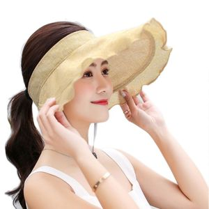 Women UV Protection Sun Visor Hat Empty Top Ruffles Wide Brim Foldable Beach Cap