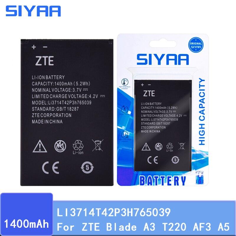 Batería Original SIYAA LI3714T42P3H765039 para ZTE Blade A3 T220 AF3 T221 A5 AF5 batería de repuesto de alta capacidad Real 1400mAh