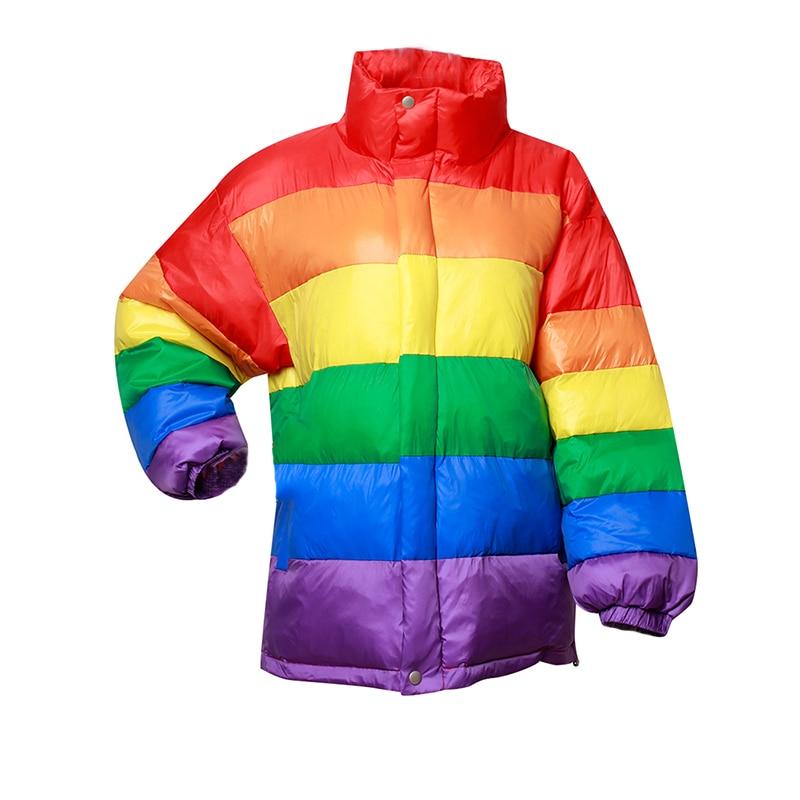 Winter Casual Down Cotton Jacket Women Rainbow Wadded Parka Plus Size Loose Striped Coat Femme Chaqueta Mujer u swear harajuku winter casual jacket women rainbow wadded parka plus size loose striped coat femme chaqueta mujer