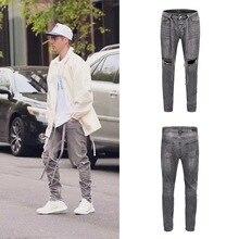 Europe et états-unis haute rue Justin Bieber la même ceinture genou trou burrs chat moustaches crayon pieds jeans décontractés hommes