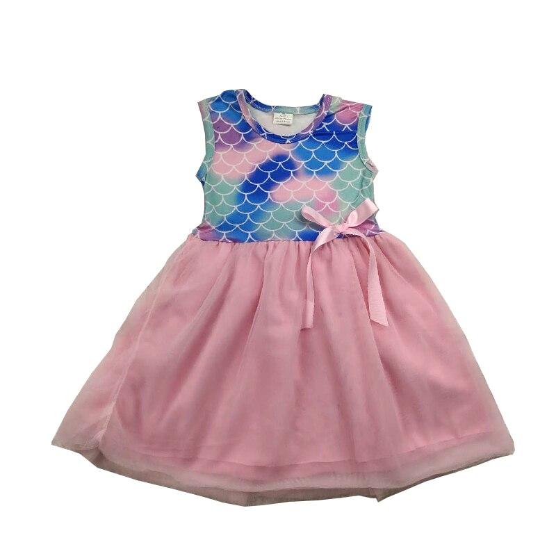 Vestido de princesa de boutique para niñas vestido de verano de impresión de la escala de peces falda de gasa Rosa vestido de niñas pequeñas