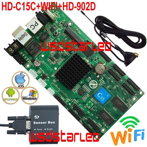 Reemplazar HD-C10C WIFI + Temperatura de HD-902D + humedad + brillo Sensor asíncrono a todo color P6 P5 P3 P2 tarjeta de control de pantalla LED